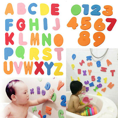 36Pcs Number & Letter Bath Funny Kids Baby New Early Educational EVA Puzzle Toys