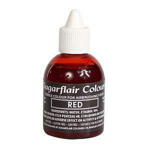 RED - Sugarflair Edible Food Colouring Liquid For Airbrushing Cake Decorating