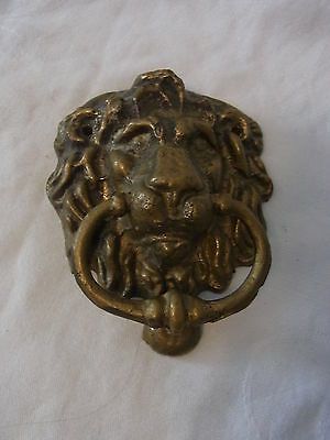 Vintage German Brass Door Knocker Lion Head #K