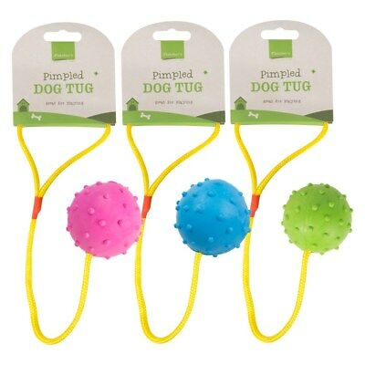 Tough Durable Pimpled Effect Ball Dog Tug Toy Rubber Rope Play Fun Strong Fetch