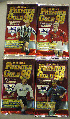 MERLIN's PREMIER GOLD 98 Trading Cards 1998 FOOTBALL CARDS 4 x Unopened packets
