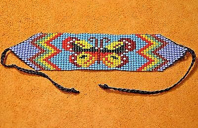 Glass Seed Bead Loom Work Butterfly Beadwork Bracelet, Colombia, South America