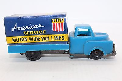 VINTAGE WORKING 1950s JAPAN FRICTION TIN - American Service Moving Truck