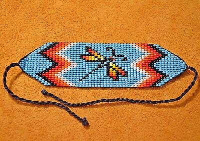 Glass Seed Bead Loom Work Dragonfly Beadwork Bracelet, Colombia, South America