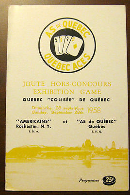 1958 Quebec Aces vs Rochester Americans Exhibition Game
