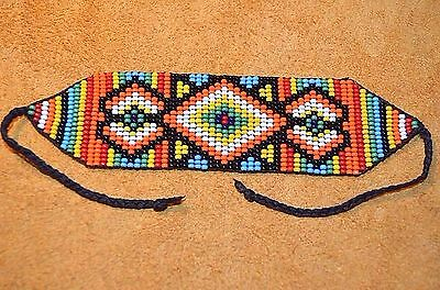 Glass Seed Bead Loom Work Beadwork Ceremonial Bracelet Colombia, South America