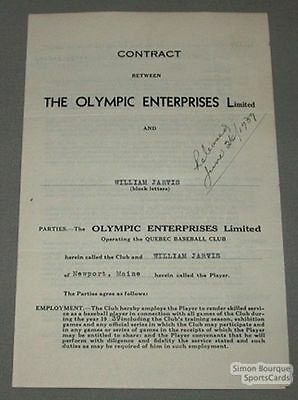 1939 Quebec William Jarvis Signed Baseball Contract