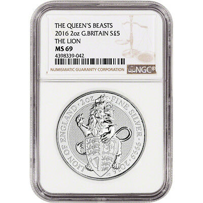 2016 Great Britain Silver Queen's Beasts (2 oz) Lion £5 - NGC MS69