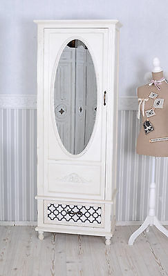 vintage schrank shabby chic kleiderschrank weiss w scheschrank spiegel eur 249 00 picclick it. Black Bedroom Furniture Sets. Home Design Ideas