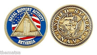 Navy Naval Support Activity Bethesda Military Logo Bronze 2 Challenge Coin
