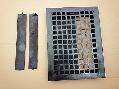 Vintage VICTORIAN Cast Iron Floor Grille 14x10  Heat Grate Register with Louvers