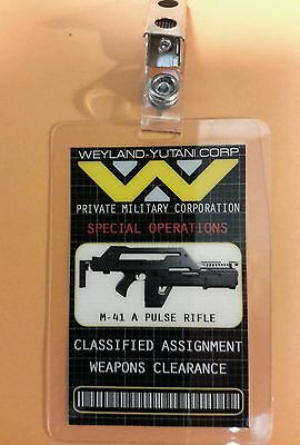 Aliens ID Badge-Special Operations Weapons Clearance cosplay prop costume