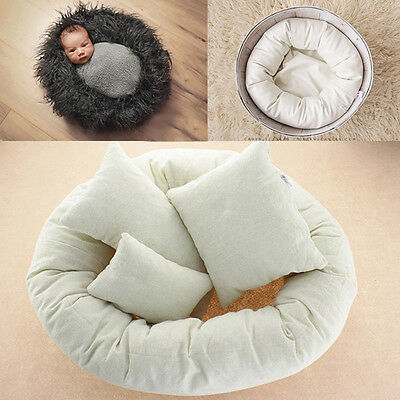 4pcs Baby Newborn Infant Photography Pillow Basket Filler Wheat Donut Photo Prop