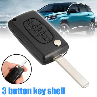 1x 3 Button Flip Remote Key Fob Case Shell for Peugeot 207 307 407 SW 308 607
