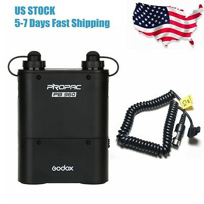 Godox PB960 Flash Speedlite Battery Pack 4500mAh CX Power Cable for Canon 550EX