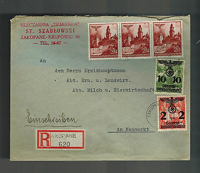1940 GG General Government Zakopane Germany Poland Cover to Neumarkt