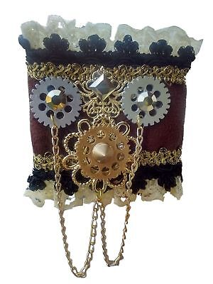Womens Steampunk Victorian Gears Lace Arm Wrist Cuffs Bands Costume Accessory