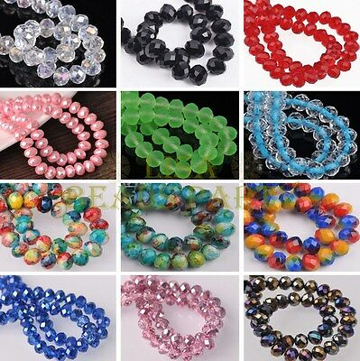 250 Colors 8X6mm 20pcs Rondelle Faceted Glass Loose Spacer Beads Lot Wholesale