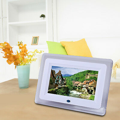 "7"" Digital Photo Picture Video White Frame Free 8GB SD Card &Remote Control"