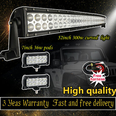 300W 52Inch Curved LED Flood Spot Work Light Bar Offroad SUV 4WD Jeep Lamp 54""
