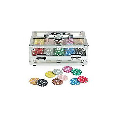 Set 200 Fiches Numerate Kit Chips Poker Valigetta Trasparente Deluxe