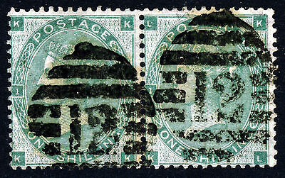 "GB QV 1862 1/- Green Plate 2 (Bears No.""1"") A PAIR KK-KL SG 90 (Spec J101[2])"
