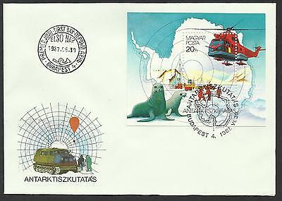 HUNGARY 1987 ANTARCTIC EXPLORATION Seals Helicopter Souvenir Sheet FDC