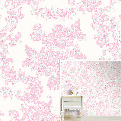 Crown Marshmallow Pink Vintage Lace Floral Feature Wallpaper Wall Paper