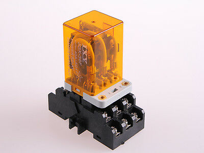 New JQX-38F AC 110V 40A 11 Pin 3PDT Coil Power Relay With Socket