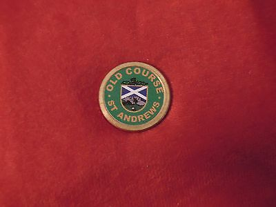 St Andrews Old Course Scotland Green Golf Ball Marker With Back Peg