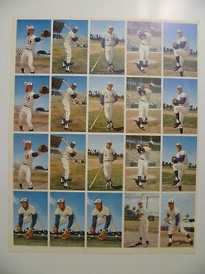 1971 Expos Pro Stars Uncut Sheet Of 20 Players