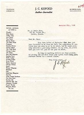 1920 Author/Journalist J.C. Kofoed Signed Letter