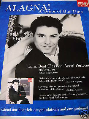 ROBERTO ALAGNA 1996 Promo Poster Ad TENOR OF OUR TIME