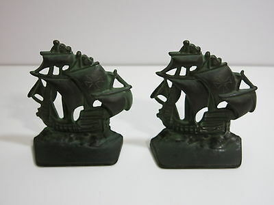 Set Of Vintage Heavy Cast Iron Bookends Of Old Tall Sail Ships Spanish Clipper