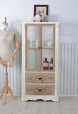 Cabinet Country House Style Shelf Glass-front Cabinet Wood Vintage Wardrobe
