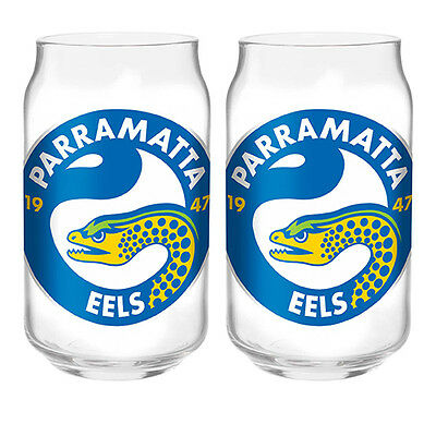 Parramatta Eels NRL 350ml Can Shaped Glasses Set of 2 Fathers Day GIFT PACK