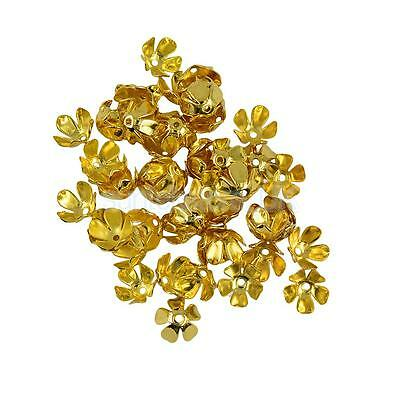 50Pcs 8 mm Gold filled 3D Metal Flower Spacer Bead Caps DIY Jewelry Finding