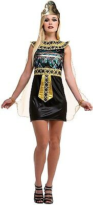 Ladies Sexy Sequinned Egyptian Cleopatra Fancy Dress Costume Outfit 10-12-14