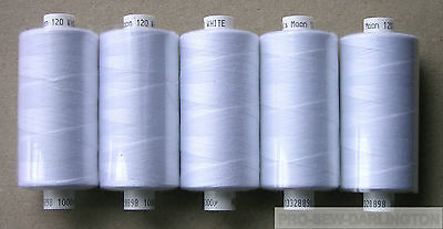 5  REELS WHITE MOON POLYESTER SEWING THREAD COTTON 120s