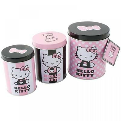 Sanrio Hello Kitty 3Pc Food Storage Canisters Jar Set Sweet Buscuit Tin 036642