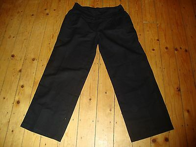 BNWT MATERNITY Black Linen Blend Roll Top Trousers Size 14