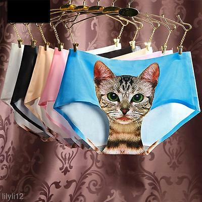 Women's Pussycat Panties Anti Emptied 3D Cat Printing Underwear Seamless Briefs