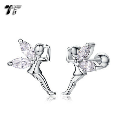 TT Silver Surgical Steel Angel Cartilage Tragus Earrings (TR29S) NEW