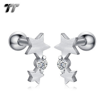 TT Surgical Steel Star Cartilage Tragus Earrings (TR31) NEW
