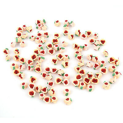 20pcs FIMO Polymer Clay Three Pistils China Rose Flower Fit DIY Handmade Bulk LC
