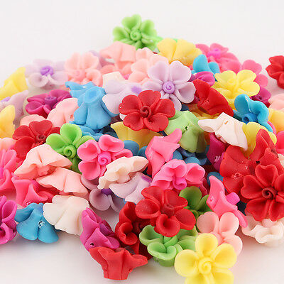 20x Wholesale Mixed Color FIMO Polymer Clay Flower Heart Petals Fit Handmade LC