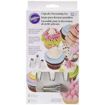Wilton 12 Pack Cupcake Decorating Set Tips Star 1M Round 2A Drop Flower 2D Bags
