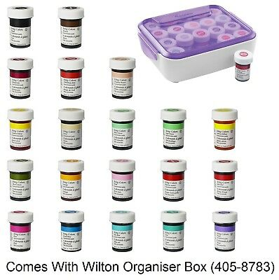 Wilton Full Set Of 20 Icing Colour Paste And Storage Box Gel Food Cake Colouring