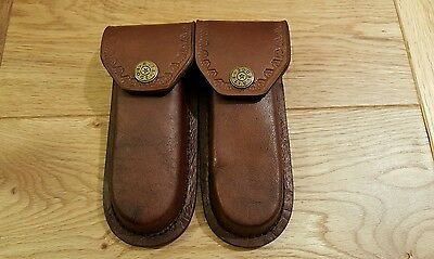 """Lot of 2 new cosmetic second 5"""" Brown leather knife sheaths - cases"""