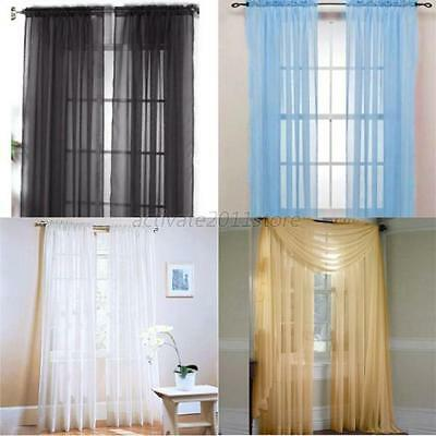 Multi-color Sheer Door Window Divider Curtain Drape Panel or Scarf Tulle Voile